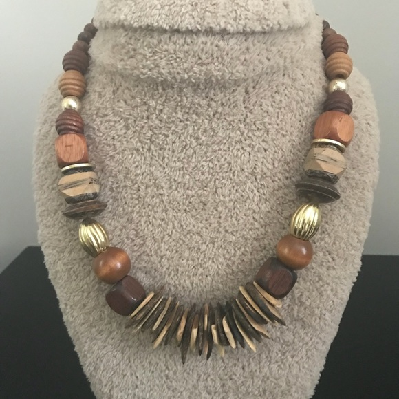 Vintage Wood and Bead Necklace